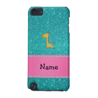 Personalized name giraffe turquoise glitter iPod touch (5th generation) case