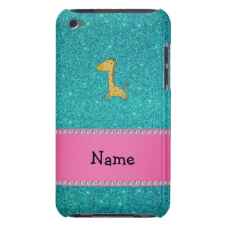 Personalized name giraffe turquoise glitter barely there iPod cover