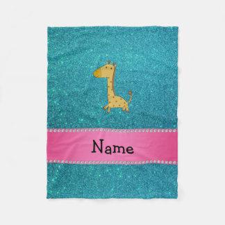 Personalized name giraffe turquoise glitter fleece blanket