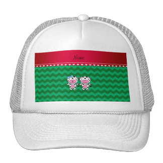 Personalized name girl boy cow green chevrons trucker hat