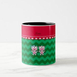 Personalized name girl boy cow green chevrons mugs