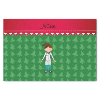 Personalized name girl doctor green trees tissue paper