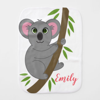 Personalized Name Girl Hanging Koala Bear Animal Burp Cloth
