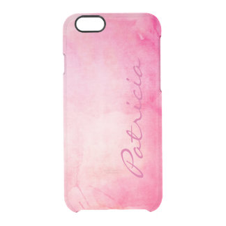 Personalized Name Girly Pink Watercolor Clear iPhone 6/6S Case