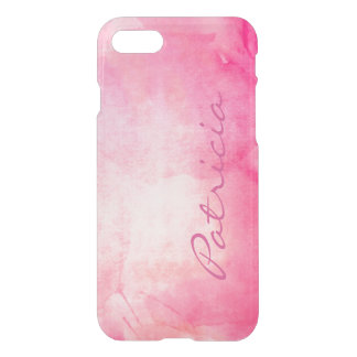 Personalized Name Girly Pink Watercolor iPhone 7 Case