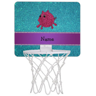 Personalized name glitter pig turquoise glitter mini basketball hoop