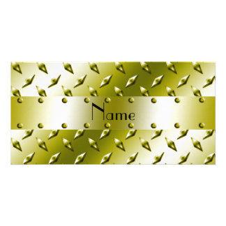 Personalized name gold diamond plate steel photo greeting card