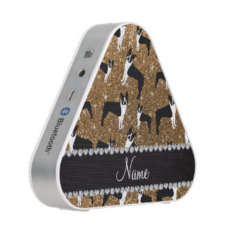 Personalized name gold glitter boston terrier