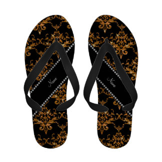 Personalized name gold glitter damask Flip-Flops