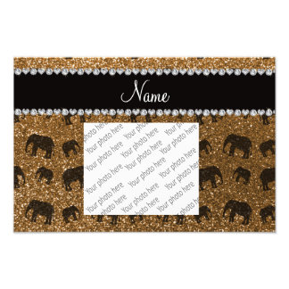 Personalized name gold glitter elephants photographic print