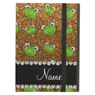 Personalized name gold glitter frogs iPad air case