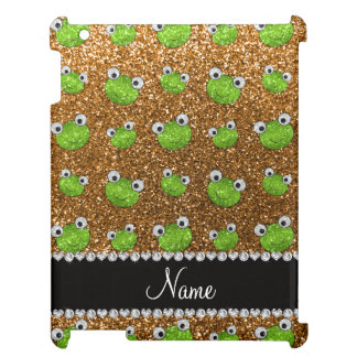 Personalized name gold glitter frogs cover for the iPad 2 3 4