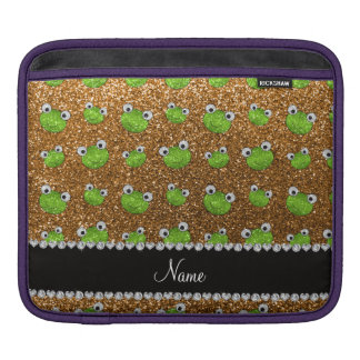 Personalized name gold glitter frogs sleeve for iPads