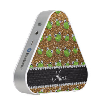 Personalized name gold glitter frogs bluetooth speaker