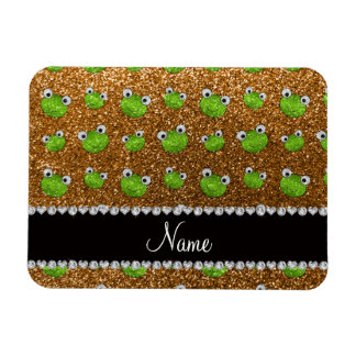 Personalized name gold glitter frogs rectangular magnets