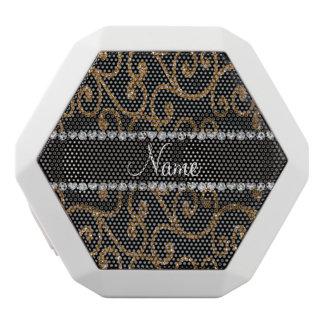 Personalized name gold glitter swirls white boombot rex bluetooth speaker