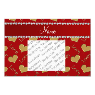 Personalized name gold red hearts love photo art