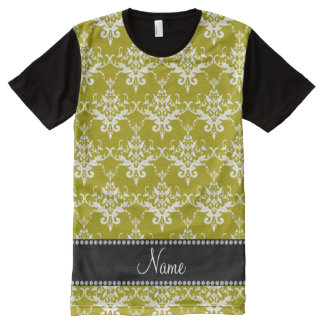 Personalized name gold white damask All-Over print T-Shirt