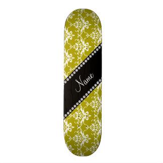 Personalized name gold white damask skateboard deck