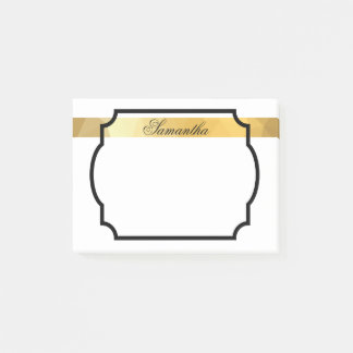 Personalized name golden elegant post it notes
