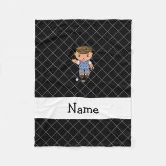 Personalized name golf player black criss cross fleece blanket