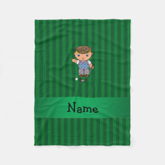 Personalized name golf player green stripes fleece blanket