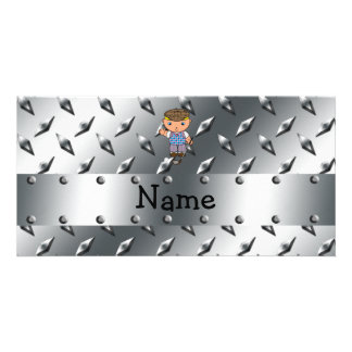Personalized name golf player silver diamond plate photo card template