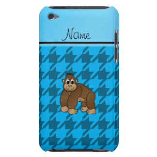 Personalized name gorilla blue houndstooth Case-Mate iPod touch case