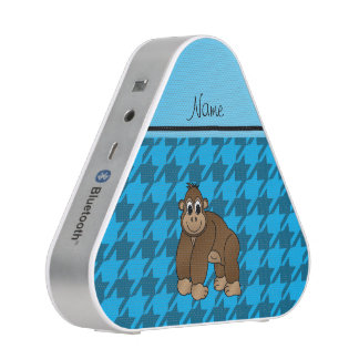 Personalized name gorilla blue houndstooth