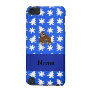 Personalized name gorilla blue snowflakes trees iPod touch (5th generation) covers