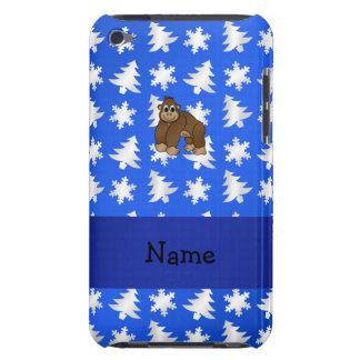 Personalized name gorilla blue snowflakes trees iPod Case-Mate case
