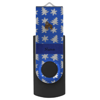 Personalized name gorilla blue snowflakes trees swivel USB 2.0 flash drive