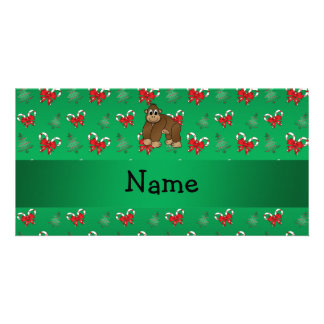 Personalized name gorilla green candy canes bows photo greeting card