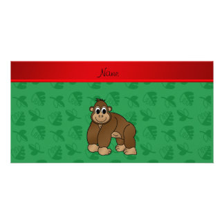 Personalized name gorilla green leaves picture card