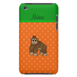Personalized name gorilla orange polka dots barely there iPod case