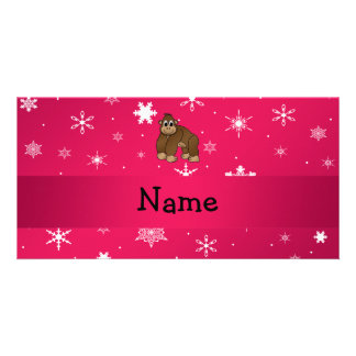 Personalized name gorilla pink snowflakes personalized photo card