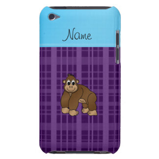 Personalized name gorilla purple plaid iPod touch covers