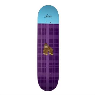 Personalized name gorilla purple plaid 21.3 cm mini skateboard deck