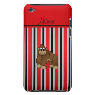 Personalized name gorilla red business stripe barely there iPod case