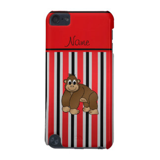 Personalized name gorilla red business stripe iPod touch (5th generation) cover