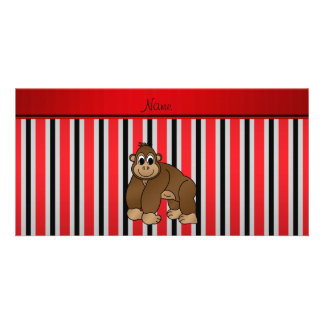 Personalized name gorilla red business stripe photo greeting card