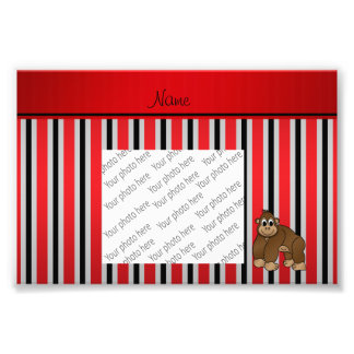 Personalized name gorilla red business stripe photographic print