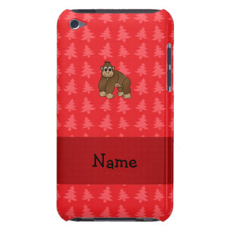 Personalized name gorilla red christmas trees iPod touch cases
