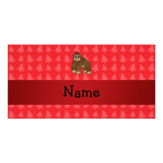 Personalized name gorilla red christmas trees customized photo card