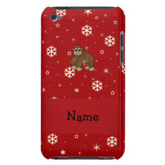 Personalized name gorilla red snowflakes iPod Case-Mate case