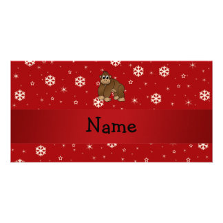 Personalized name gorilla red snowflakes personalized photo card