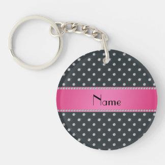 Personalized name gray diamonds pink stripe keychains