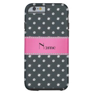 Personalized name gray diamonds pink stripe tough iPhone 6 case