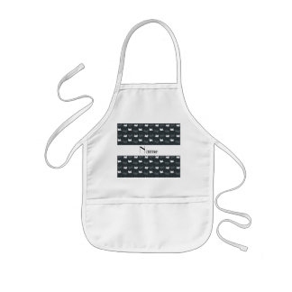 Personalized name gray train pattern aprons