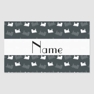 Personalized name gray train pattern rectangle stickers